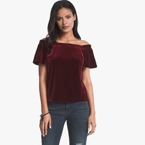 NWT WHBM Red Off Shoulder Velvet Top Cap Sleeve Xs